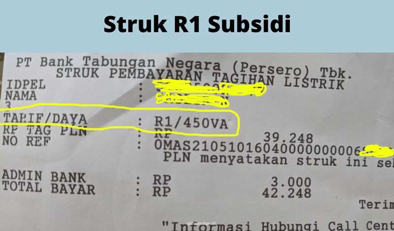 Struk listrik R1 Subsidi